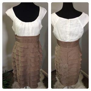 London Times Formal Gold Ivory Ruffle Dress Sz 10